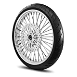 21X3.5 40 Fat Spoke Wheel for Harley Softail fits 2000-2007 models (NO ABS) w/Tire & Rotor (w/bolts) (All Chrome & Black Wall Tire)