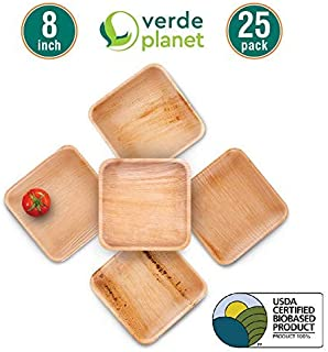 Verde Planet - 8 inch Square Palm Leaf Plates - Biodegradable, Ecofriendly, Disposable, Sturdy, Elegant, Premium Quality Plates, USDA Certified - 25 Count