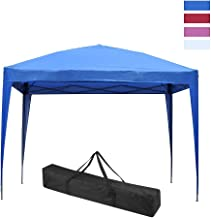 LEISURELIFE Waterproof 10'x10' Pop Up Canopy Tent with Side-Outdoor Folding Commercial Gazebo Party Tent Blue