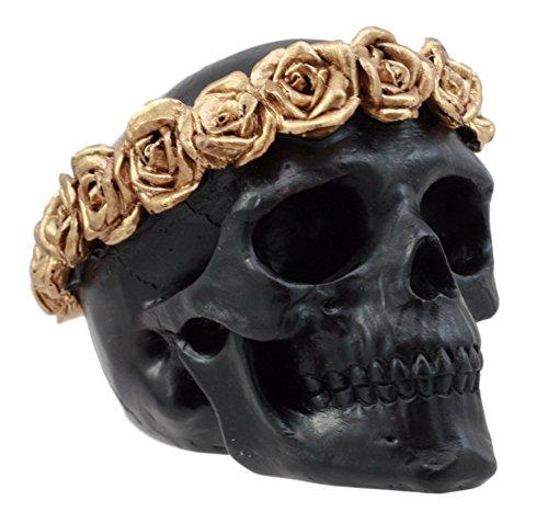 Ebros Gift Day of The Dead Copper Rose Laurel Black Skull Figurine DOD Flower Wreath Sugar Skull Decor 4.25' L