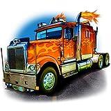 trucks fabric - Semi Truck Fabric Flaming 5804 (25 inch Square)