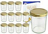 """MamboCat - Set di 12 vasetti da 230 ml, con coperchio dorato, Ø 66 mm Include: ricettario """"Diamant Gelierzauber"""" (lingua italiana non garantita), barattoli da marmellata, conserva o salsa"""