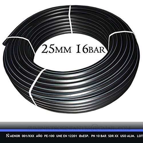TUBERIA 25MM de Polietileno ALIMENTARIA alta densidad. Presión máxima 16 BAR. Bobina de 100 METROS. Color negro. Máxima calidad. Tuberia con Certificado AENOR apta uso agua potable.