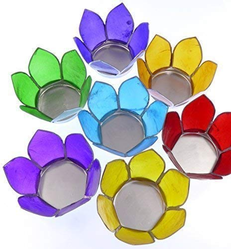 7 x Chakra arcoiris flor de loto vela portavelas cáscara de capuz vela pequeña set de regalo