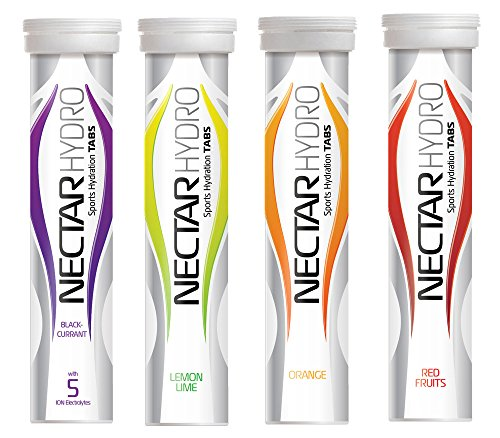Nectar Hydro - Sports Electrolyte Tabs - 4 x Tubes of 20 tabs - One of Each Flavour