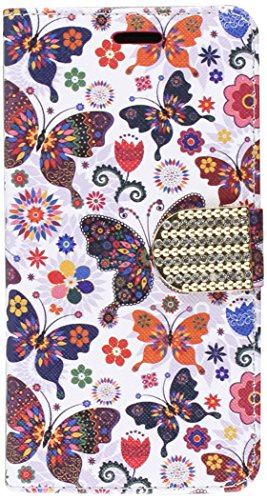 HR Wireless Cell Phone Case for Samsung Galaxy On5 - Colorful Butterfly Flower Polka Dot Floral