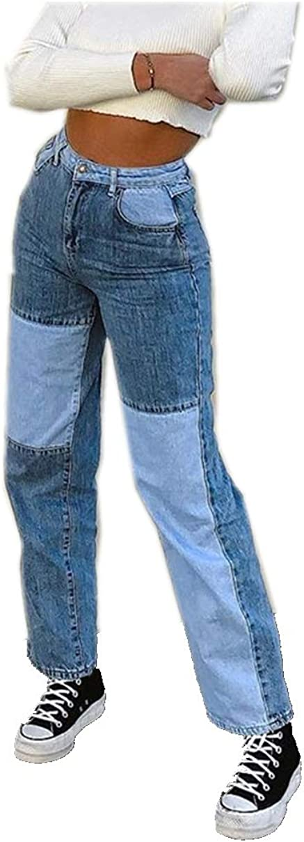 Women Fashion Mid Waisted Pocket Stretch Button Bell-Bottom Denim Bootcut Jeans Pants Jeans