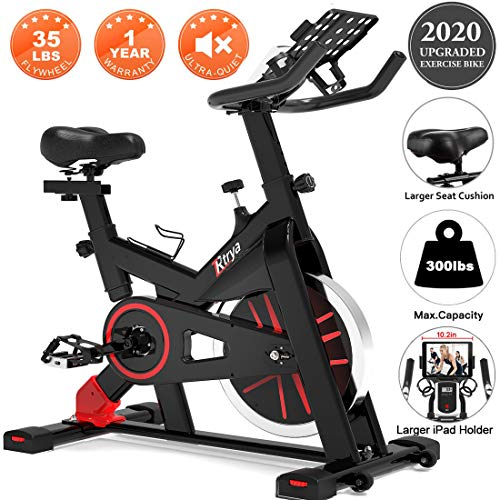TRYA Spin Bike, Belt Drive Indoor Cycling Bike Stationary with Ipad Mount, 35 LBS Flywheel Workout...