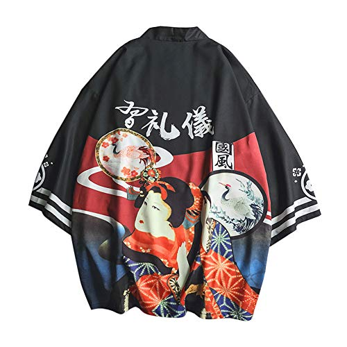 LaoZanA Hombres Vintage Japonés Kimono Camisa Haori Estampado Holgado Cárdigan 15 XL