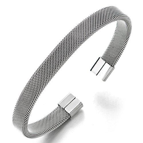 COOLSTEELANDBEYOND Elastische Verstellbare-Edelstahl Gitter Stahlkabel Armband Herren Damen, Armreif