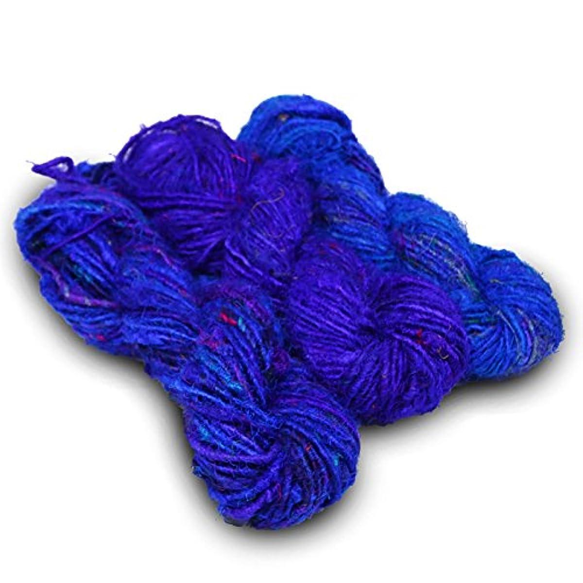 Paradise Fibers Recycled Sari Silk Yarn (Blue/Purple)- 3 Skein Bundle, 50 Yards, 100 Grams, Per Skein