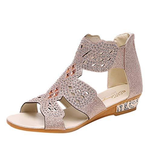 TUDUZ-Schuhe Damen Sommer Sandalen Frauen Damenmode Peep Toe Flache Schnalle Freizeitschuhe Sandalen Espadrilles(41EU,B-Beige)