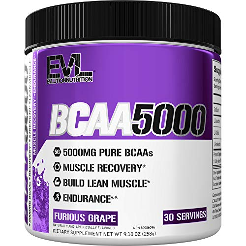 Evlution Nutrition BCAA5000 Powder 5 Grams of Branched Chain Amino Acids (BCAAs) Essential for Performance, Recovery, Endurance, Muscle Building, Keto Friendly, Zero Sugar, 30 Servings (Furious Grape)