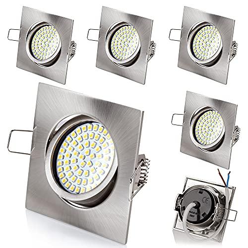 6 x stück sweet led® Flaches Design LED Einbaustrahler Flach   400Lumen   3.5W   230V   Edelstahl Optik   Rund - Eckig   Schwenkbar Einbauspots Einbauleuchten Einbau led (Eckig-Warmweiß)