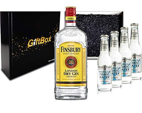 Gin Tonic Giftbox Geschenkset - Finsbury London Dry Gin 0,7l 700ml (37,5{911bb457604878eeca79a7214f5422d590718b6573d4cf283ed803235eca49d6} Vol) + 4x Fever Tree Naturally Light Tonic Water 200ml inkl. Pfand MEHRWEG + Geschenkverpackung