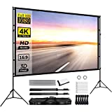 Projector Screen with Stand 120inch Portable Projection Screen 16:9 4K HD Rear Front...