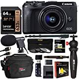 Canon EOS M6 EF-M 15-45mm is STM Mirrorless Camera (Black) with Lexar 64GB Memory Card, Tabletop Tripod, 62' Monopod, Microphone, Card Reader, Camera Bag, HDMI Cable, Filter Kit Bundle