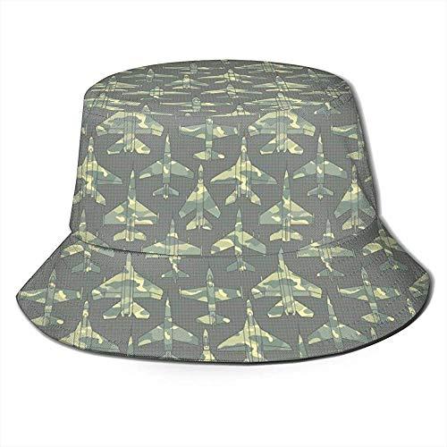 Henry Anthony Unisex Bucket Hat Air Force Aircraft Camo Impreso Sombrero para el Sol al Aire Libre Summer Travel Outdoor Cap