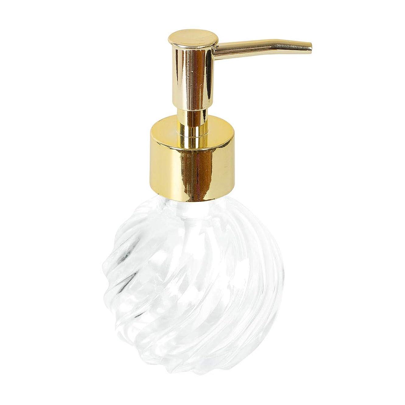 ラテンタイマープロトタイプuxcell ガラス石鹸ディスペンサーボトル?ステンレス製?ポンプ詰め替え可能?透明な空のガラス液体皿石鹸ボトル?パターン付きバスルームキッチン用 ゴールドトーン/プラスチック