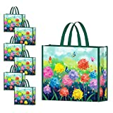 NymphFable 6 Pcs Bolsa Compra Reutilizables Ecológicas Mariposas Flores Bolsas para Comestibles Plegables Grande
