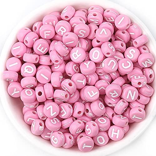 200 cuentas de letras de colores acrílicos, cuentas de letras coloridas redondas de 7x4 mm, con hilo de cristal, utilizadas para joyería de bricolaje, manualidades, pulseras, llaveros (rosa)