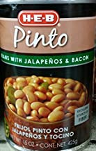 HEB Pinto Beans with Jalapenos & Bacon 15 Oz (Pack of 6)
