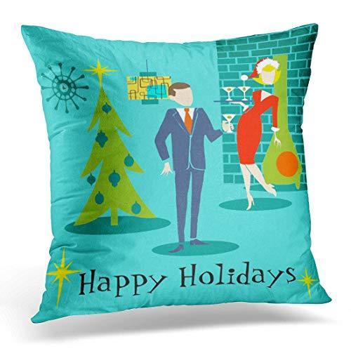 Throw Pillow Cover Orange Mid Retro Holiday Cartoon Teal Century Funda Almohada Decorativa Decoración para el hogar Funda Almohada Cuadrada 18 '