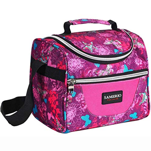 Lunch Bag for Kids Insulated Lunch Box for Girls Boys Children Student Cooler Lunch Tote Bag With Adjustable Shoulder Strap and Front Pocket Perfect for School Work Picnic Outdoor Activities(rose)