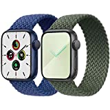 2-Pack Solo Loop Strap Compatible with Apple Watch Band 38mm 40mm,No Clasps No Buckles Stretchable Braided Sport Elastics Replacement Wristband for iWatch Series 6/5/4/3/2/1,SE,Blue&Green,6#