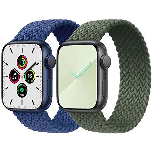 2-Pack Solo Loop Strap Compatible with Apple Watch Band 38mm 40mm,No Clasps No Buckles Stretchable Braided Sport Elastics Replacement Wristband for iWatch Series 6/5/4/3/2/1,SE,Blue&Green,9#