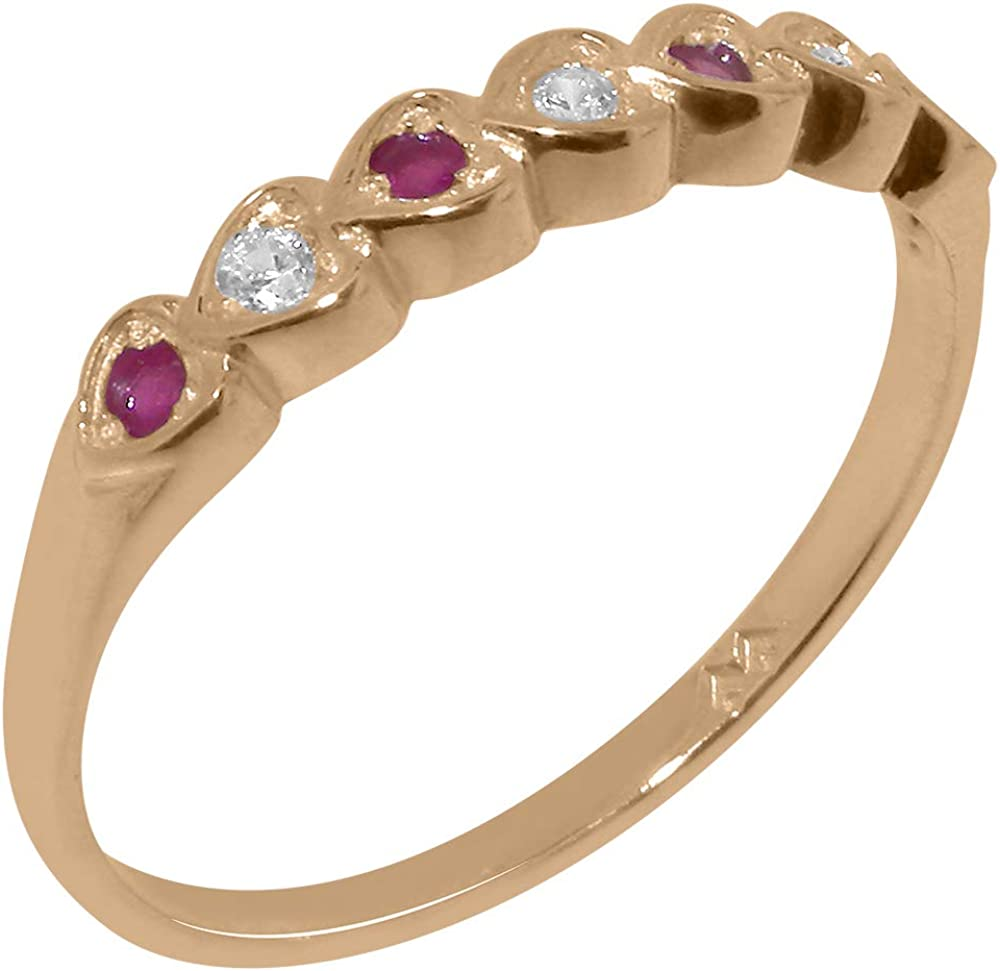 Solid 18k Rose Gold Natural Diamond & Ruby Womens Eternity Ring - Sizes 4 to 12 Available