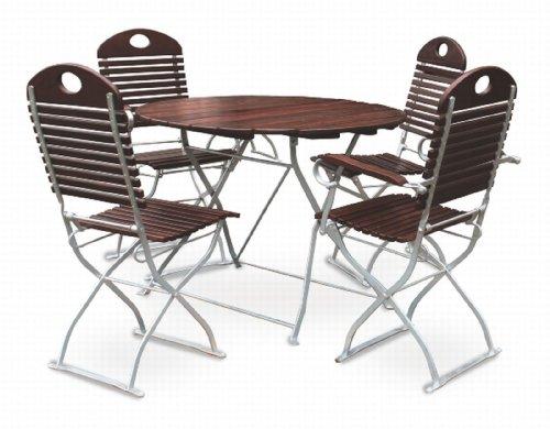 EuroLiving Ensemble de jardin à bière comprenant 1 table Ø 100 cm et 2 chaises et 2 fauteuils en châtaigne/galvanisé