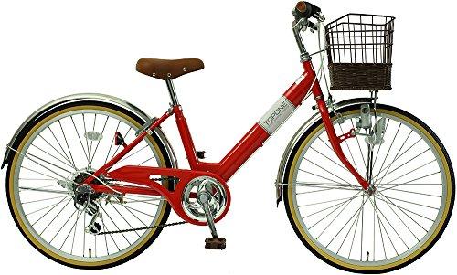 子供用自転車 24インチ シマノ6段変速 ステンレス泥除け 男の子 女の子 シティサイクル キッズバイク ジュニアサイクル NV246-RD レッド