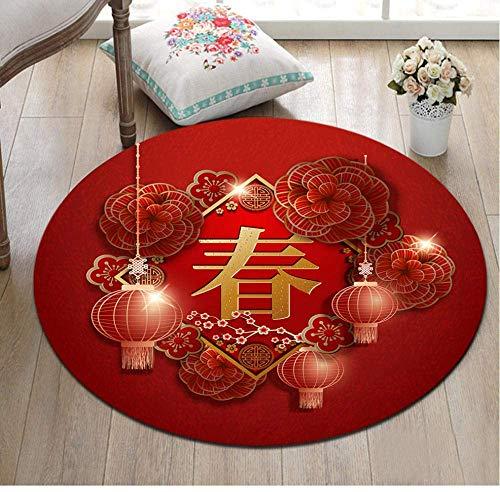 GANE Teppiche Shaggy Carpet Round Chinese Word Blumenlaterne Rot rutschfest Wohnzimmer Schlafzimmer Weihnachten Bodendekoration Matte-60CM (100CM)