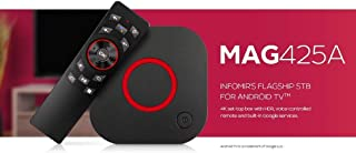 MAG425A IPTV Set-Top Box / 4K UHD 60FPS / Android TV / 2 GB RAM/Wi-Fi/Bluetooth/Voice-controlled remote/Chromecast built-in