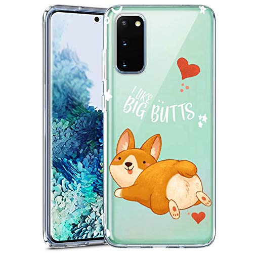Samsung Galaxy S20 FE 5G Case Clear with Design Soft Transparent TPU Protective Shockproof Case for Samsung Galaxy S20 FE 5G Corgi Pattern