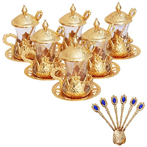 Alisveristime Set mit 6 handgefertigten türkischen Tee-Wasser, Zamzam-Servierset mit Gläsern, Untertasse und Löffel (goldfarben)