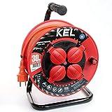 KEL -ELECTRIC - Tambor de cable para jardín con 30 m de PVC - Cable 3 x 1,5 mm², 230 V/16 A - Cable alargador de plástico con 4 enchufes de protección IP44