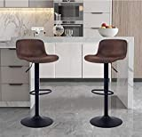 YOUNIKE Furniture Modern Design Barstools with Adjustable Height and 360° Rotation, Ergonomic Streamlined Polypropylene High Bar stools for Bar Counter, Kitchen and Home (Set of 2, Retro Brown)