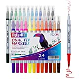 MyLifeUNIT Fineliner-Stifte-Set, 24 Farben, feine und Pinselspitze für Kalligraphie und Zeichnen