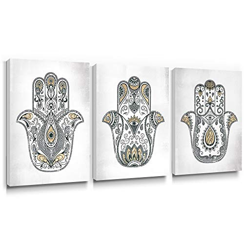 Gronda Buddha Wall Art Hamsa Hand Painting Yellow Gray Prints Home Decor Framed Boho Canvas Artwork Ready to Hang for Yoga Living Room Bedroom Bathroom 12x16 Inch, 3 Panels