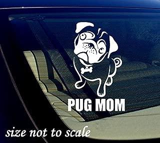 OwnTheAvenue Pug MOM Decal Sticker White Car Window Bumper I Love My Rescue Dog 3.5