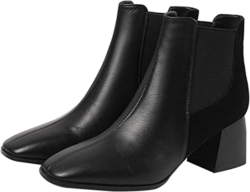 ZHRUI Bottes Martin en Cuir antidérapantes à la Mode pour Femmes, Haute avec des Bottes Chelsea (Couleuré   Noir 2, Taille   37EU)