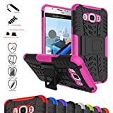 Galaxy J7 2016 Case,Mama Mouth Shockproof Heavy Duty Combo Hybrid Rugged Dual Layer Grip Cover with Kickstand for Samsung Galaxy J7 J710 2016 Smartphone(with 4 in 1 Packaged),Pink