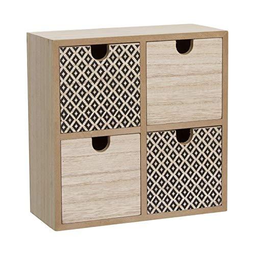 Home Gadgets Mueble Armario Comoda Cajonera Dormitorio 4 Cajones Madera 23 cm