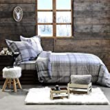 J&K Markets - Funda de edredón y sábana bajera, diseño de cuadros, color gris, 220 x 240 cm, 2 personas y 2 fundas de almohada, 100% algodón franela, tacto muy suave