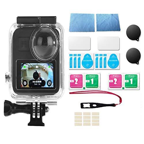 Lanmei Funda protectora impermeable Kit de accesorios para GoPro Max, vidrio templado subacuático impermeable caso protector