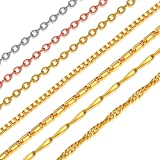 Suplight 2mm Water Wave Chain 18K Gold Plated Adjustable Chain 22inches Necklace Chain for Men/Women