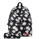 GEEFSU Ligera Escuela Bolsas Mochila Set Niñas Adolescentes Caja de Lápiz Bookbag - Floral