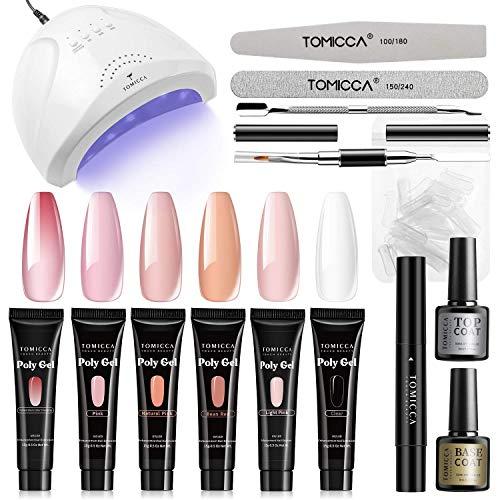 TOMICCA 24/48W UV LED Nagelart Lampe Kit, 6 Farben Poly Gel Starter Set mit Base und Top Coat Schlickerlösestift, 15g Nude Babyboomer Thermischer Acryl GelLack